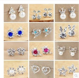 multy shapes ear stud Non - allergenic ear stud silver flower bowknot shapes earrings 10pairs a lot