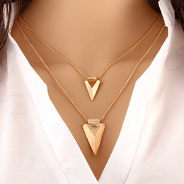 Promotion lien pour perles Vente en gros-2016 SUPIN Fashion Metal Triangulaire multicolores Beads Link Chain Colliers Plaqué Or Accessoires Simple Accessoire Collier en acier