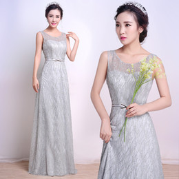 Wholesale Sexy Peplum Bridesmaid Dress - Vintage Champagne 2016 Sheer Neck Maid Of Honor Dresses Bridesmaid Gowns A Line Floor Length Scoop With Sequins Long Evening Formal Prom
