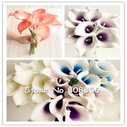 96PCS LOT NATURAL REAL TOUCH PU FLOWERS ARTIFICIAL NATURAL LOOKING CALLA LILY FOR DIY WEDDING BRIDAL BOUQUETS 6 COLORS