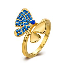 Wholesale High Quality Blue Crystal Dragonfly Design Rings K Gold Plated Finger Ring Vintage Charm Queen Jewelry for Women