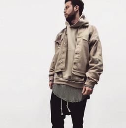 drop ship fall fashion famous mens designer clothes british khaki represent clothing kanye west men denim fbi jacket