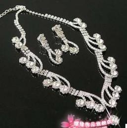 crystal diamond drops bride wedding set necklace earings