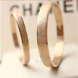 Fashion 18K Rose Gold Couples Bracelet Frosted Surface Bayonet Clasp Lovers Bangles Bracelets Silver Jewelry for Cheap 10pcs