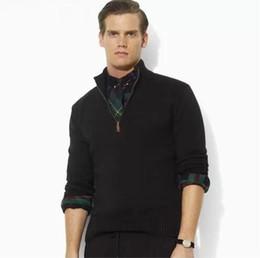 Wholesale High Quality Famous Brand POLO Sweater Half a Mandarin Collar Zipper Men Long Sleeve Sweater Pullover Mens Pull Homme Black XXXL