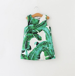 Wholesale 2016 Autumn Europe Girls Floral Dress Emboss Kids Baby Japanese Banana Leaves Printed Sleeveless Vest Dress Children Princess Cotton Dresses