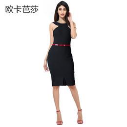 2016 New Summer Women Bodycon Dress Sleeveless European and America Slim Sexy Off-shoulder Knee-length Pencil Dresses Black