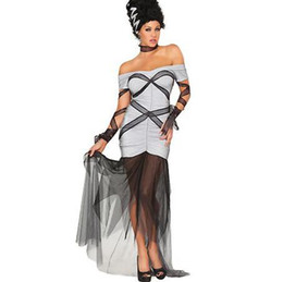 Hot Sale Gothic Vampires Ghost Halloween Costume Sexy Off the Shoulder Short Sleeve Mesh Patchwork Fancy Dress Ghost Bride Cosplay W847037
