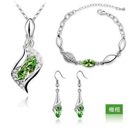 Wholesale 2016 Top Quality Jewelry Elegant Luxury Design Jewelry New Fashion White Gold Plated Colorful Austrian Crystal Drop Jewelry Sets Women Gift