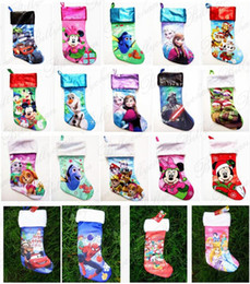 Wholesale 22 styles Christmas Stockings Cartoon Frozen Christmas gift bag cm Christmas candy bag spider man Star Wars gift bags for Kids D689