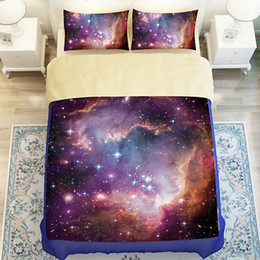 Wholesale 2016 Galaxy Series Cotton Sanding D Printing Bedding Set Adult Children Dovet Cover Flat Fitted Sheet Pillow Case Twin Full Queen King