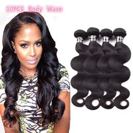 Wholesale 10Pcs Brazilian Remy Human Hair Bundles Unprocessed Brazilian Body Wave Virgin Human Hair Wefts Natural Color