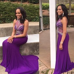 Charming Purple Mermaid Evening Gowns Long High Neck Sequins Beaded Sweep Train Sexy Women Formal Prom Party Dresses Cheap