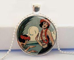 Hawaii Collar, Hawaii Joyería Colgante hawaiano del arte de Luau de la isla tropical de las muchachas de Hula del vintage, cabochon de cristal, colgante de la imagen de cristal desde colgantes tropicales proveedores