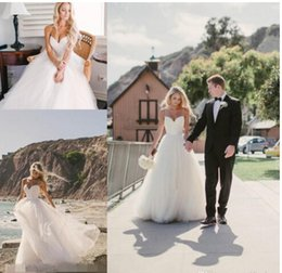 2016 Beach Summer Simple Wedding Dresses Sexy Bridal Gowns Vintage Spaghetti Strap Tulle Cheap A-Line White Wedding Dress