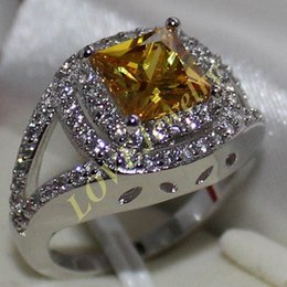 Lady's 925 Silver Cushion-cut Yellow Topaz Gem Two Round CZ Paved Wedding Ring Jewelry for Women