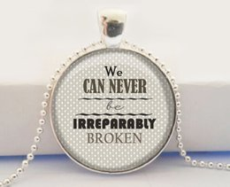 Wholesale Irreparably Broken Quote Art Glass Dome Pendant The Fault in Our Stars John Green Book Quote Charm Necklace