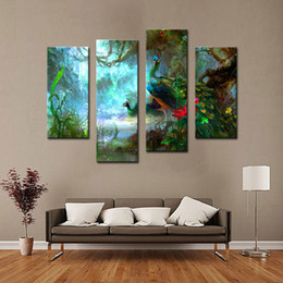 Wholesale 4 Picture Combination Two Peacocks Walk In Forest Beautiful Wall Art Painting The Picture Print On Canvas Animal For Home Decoration