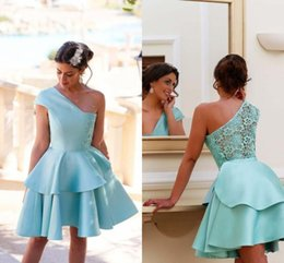 Light Blue One Shoulder Short Party Dresses Layers Satin And Lace Cocktail Dresses Evening Wear A Line Formal Prom Gowns Homecoming Dresses