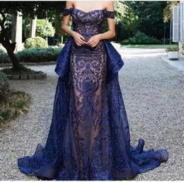 2019 Navy Blue Evening Dresses with Sweetheart Neckline Embroidery Floor Length Sweep Train Party Prom Gowns