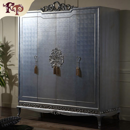 Wholesale Italian classic furniture Manufacturer Antique bedroom furniture luxury hand carved wardrobe solid wood frame with silver leaf gilding
