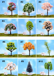 100Pcs Mix artificial mini trees Willow Sakura fairy garden miniatures mini terrariums figurines for garden decoration wholesale