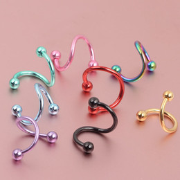Nose body jewelry N01 100pcs lot mix 7 colors 16G stainless steel spiral nose rings and stud piercing body jewelry