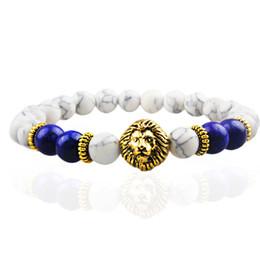 SN0631 Fashionable Mens Lion Head Bracelet Natural Howlite Stone Bracelet Liaps Bracelet for man Lion Bead Bracelet