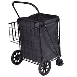 Wholesale Folding Shopping Cart Jumbo Swivel Wheels Extra Basket Trolley Grocery Laundry