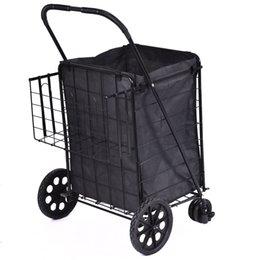 Wholesale Folding Shopping Cart Jumbo Swivel Wheels Extra Basket Trolley Grocery Laundry