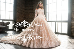 Wholesale Luxury Blush Pink D Floral Arabic Wedding Dresses Ball Gown Boat Neck Lace Appliques Long Sleeves Plus Size Muslim Italy Bridal Gowns