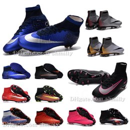 Wholesale 2016 New Children high ankle Football Boots AG FG Superfly IV V Mercurial CR7 Soccer Shoes kids boys girls MercurialX TF Cleats