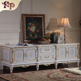 Wholesale French Royalty classic furniture baroque handcraft cracking paint floor cabinet TV cabinet