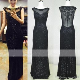 Vintage Black Beaded Sequined Sheath Prom Dresses Scoop Backless Evening Celebrity Red Carpet Ralph And Russo Real Sample Dresses