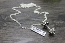 Wholesale hot sale Antique silver plated dumbbell pendant with quot strong is beautiful quot charm pendant necklace