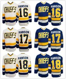 Wholesale Hanson Brothers Charlestown Ice Hockey Jersey Jack Steve Jeff Hanson SlapShot Movie Jerseys Blue White