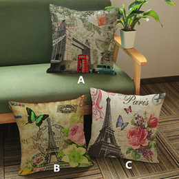 Paris tower Big Ben Butterfly Palm Tree Cartoon creative printed pillow Home Sofa cushion linen velvet comfortable cushion cover 45*45cm