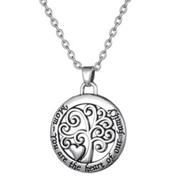 Mom You Are The Heart of Our Family Antique Silver Tone Tree of Life Round Shape Pendant Necklace for Mother