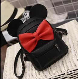 Wholesale 2016 Hug Me Girls Backpack Korean Cute Cartoon Mickey Design Backpack Fashion Bow Girls Bags with Ear