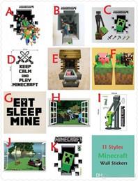 Wholesale 200pcs HOT ITEM In Stock styles D Walls Minecraft Wall Stickers Creeper Decorative Cartoon Wallpaper Kids Party
