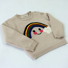 Wholesale Kids Sweaters for Baby Girls Spring Autumn Outerwear Knit Sweater with Rainbow Cloud INS Popular Children Pullover Long Sleeve Coat Beige