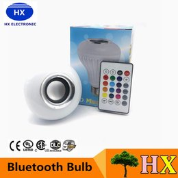 Wholesale Hot Wireless Bluetooth W LED Speaker Bulb Audio Speaker LED Music Playing Lighting With Keys E27 Remote Control
