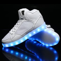 New style high top led shoes Autumn Spring men and women flashing adult LED shoes with 7 colors unisex USB charger LED shoes
