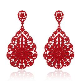 Wholesale&Retail New Style Earrings Women Elegant Flower Shape Strass Coating Earring Lady Party Jewelry Red Blue Black Beige
