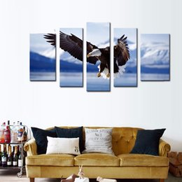 Wholesale LK584 Panel Blue Bald Eagle Flying With Mountain Wall Art Painting The Picture Print On Canvas Animal Oil Painting For Home Decor Unframed