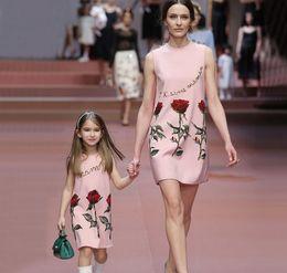 Summer Girls Floral Dress Kids Rose Printed Sleeveless Vest Dress Children Cotton Princess Dresses Europe Fashion Child Clothing Pink 11437