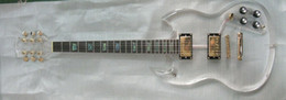 Custom Electric Guitar full acrylic clear body and neck with led light