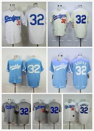 Wholesale LA Los Angeles Dodgers Sandy Koufax Jersey Throwback White Gray Blue Brooklyn Dodgers Sandy Koufax Baseball Jersey