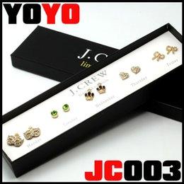 2017 boîtes à bijoux dames Ensemble de boucles d'oreilles en cristal de diamants en or de marque JC Brand New 2016, boucle d'oreille en nacre pour dames de mode boîtes à bijoux dames sortie