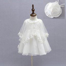 2016 Newborn Baby Christening Gown Infant Girls Princess Lace Baptism Dress Toddler Baby Girl Dresses 3pcs set 1776